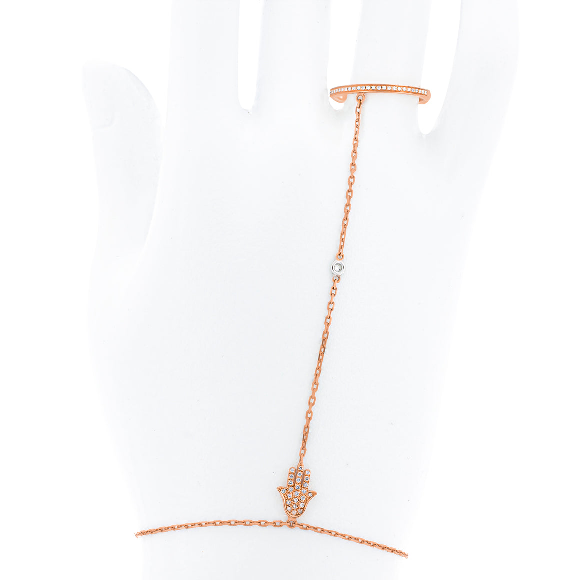 Diamond Ring attached to bracelet | 57 round diamonds in 18K Rose gold very delicate and jewelry | Hamsa slave bracelet - hand chain