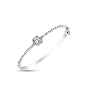 White Gold Diamond Bangle, Gold Diamond Bracelet set with 5 sparkles Baguette Cut Diamonds & 74 round.