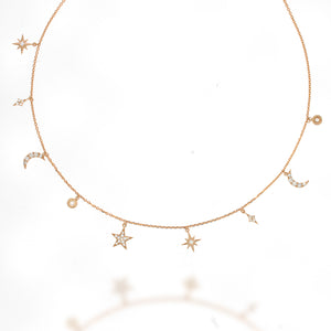 Celestial Jewelry Constellation Necklace Statement Jewelry star northern star charm Necklace | Christmas Gift | 33 diamonds in 18k rose gold