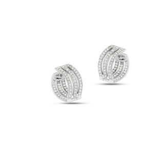 Diamond Hoop Earrings, Diamonds on both sides of the earring, White gold.