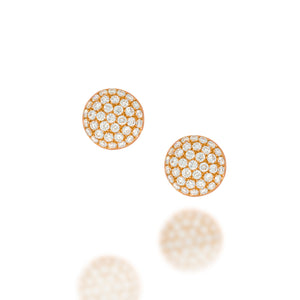 Round Pave Diamond Stud Earrings | 74 round brilliant cut diamonds set in 18k rose gold round stud earrings | sparkling stud wedding earring