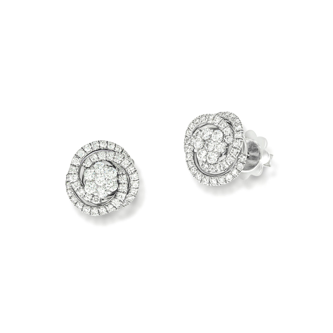 Halo Stud Earrings flower Shape with spiral diamonds around it.0.96 ct, 98 round natural sparkling diamonds, very Unique design, wedding set