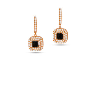 Drop diamond earing with big Black diamond as a main stone, rose 18 carat gold