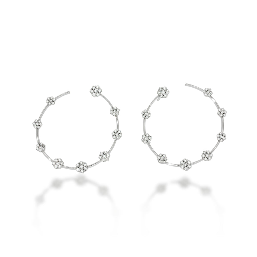 Diamonds flowers hoop earrings | decorated by 18 beautiful flowers set with 126 round diamonds in 18K white gold | weddings earrings.