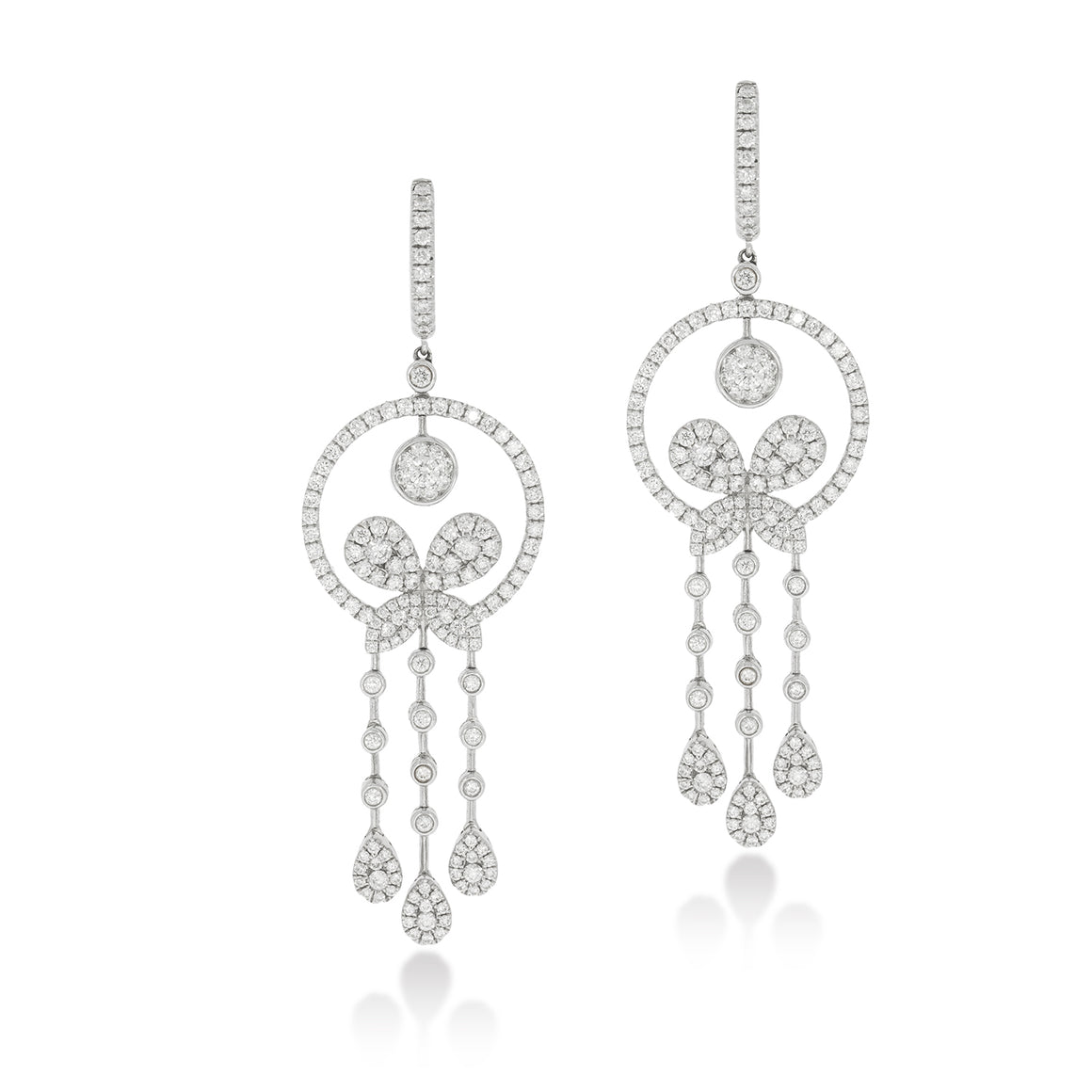 Drop Earrings set with total of 2.85 Round diamonds White gold, Flower shape.
