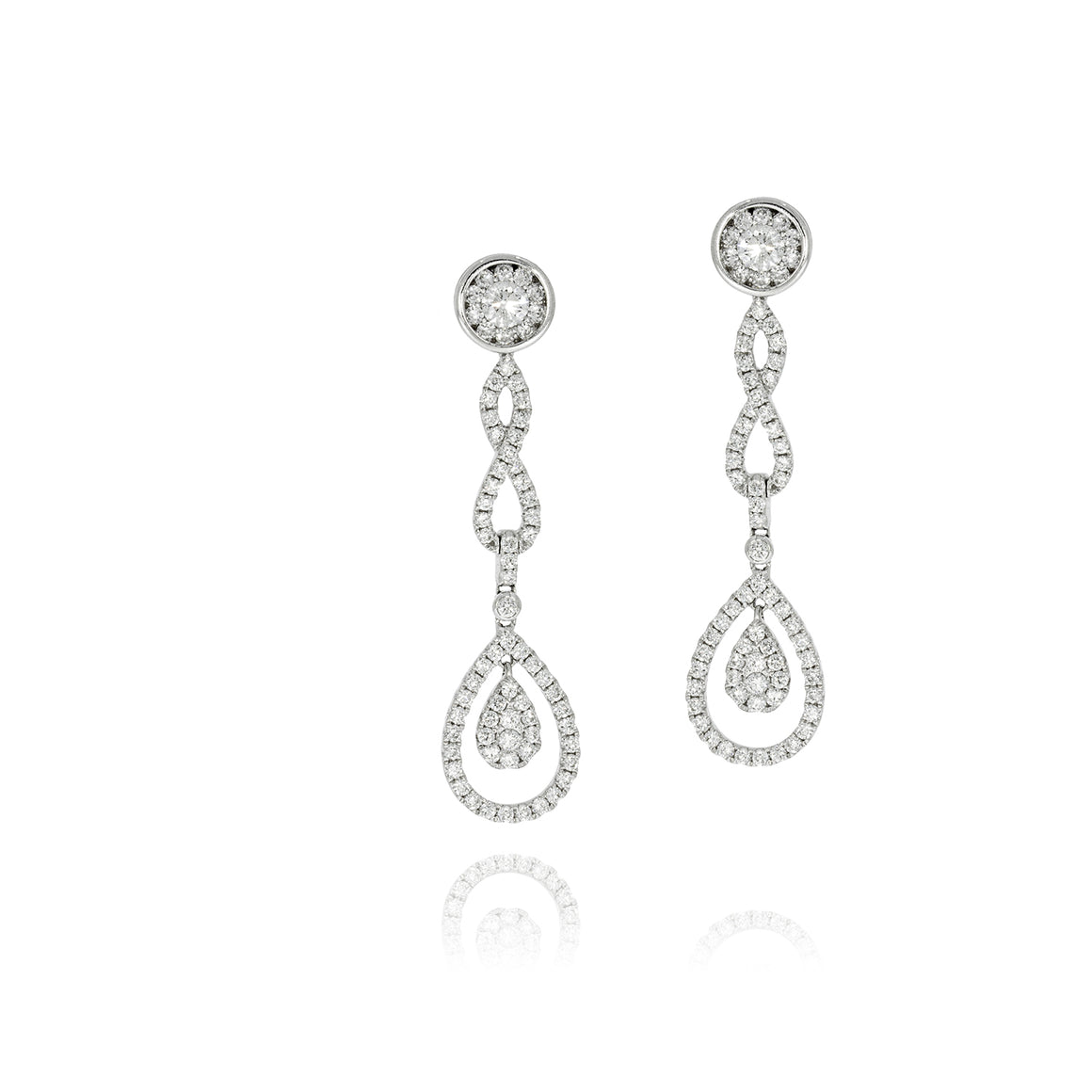 Drop Earrings set with total of 1.83 Round diamonds White gold, Flower shape.
