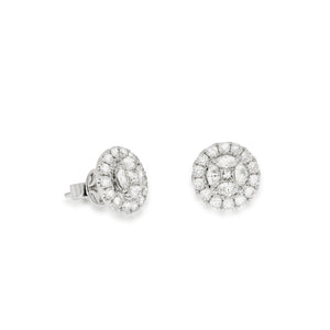 1.59 ct. Halo Stud Earrings Sun Shape, 2 center Princess Cut, Halo Diamond with 8 Marquise shape and 28 round natural sparkling diamonds,
