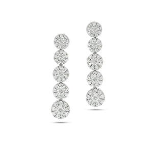 Drop Earrings set with total of 1.67 Round diamonds White gold, Flower shape.