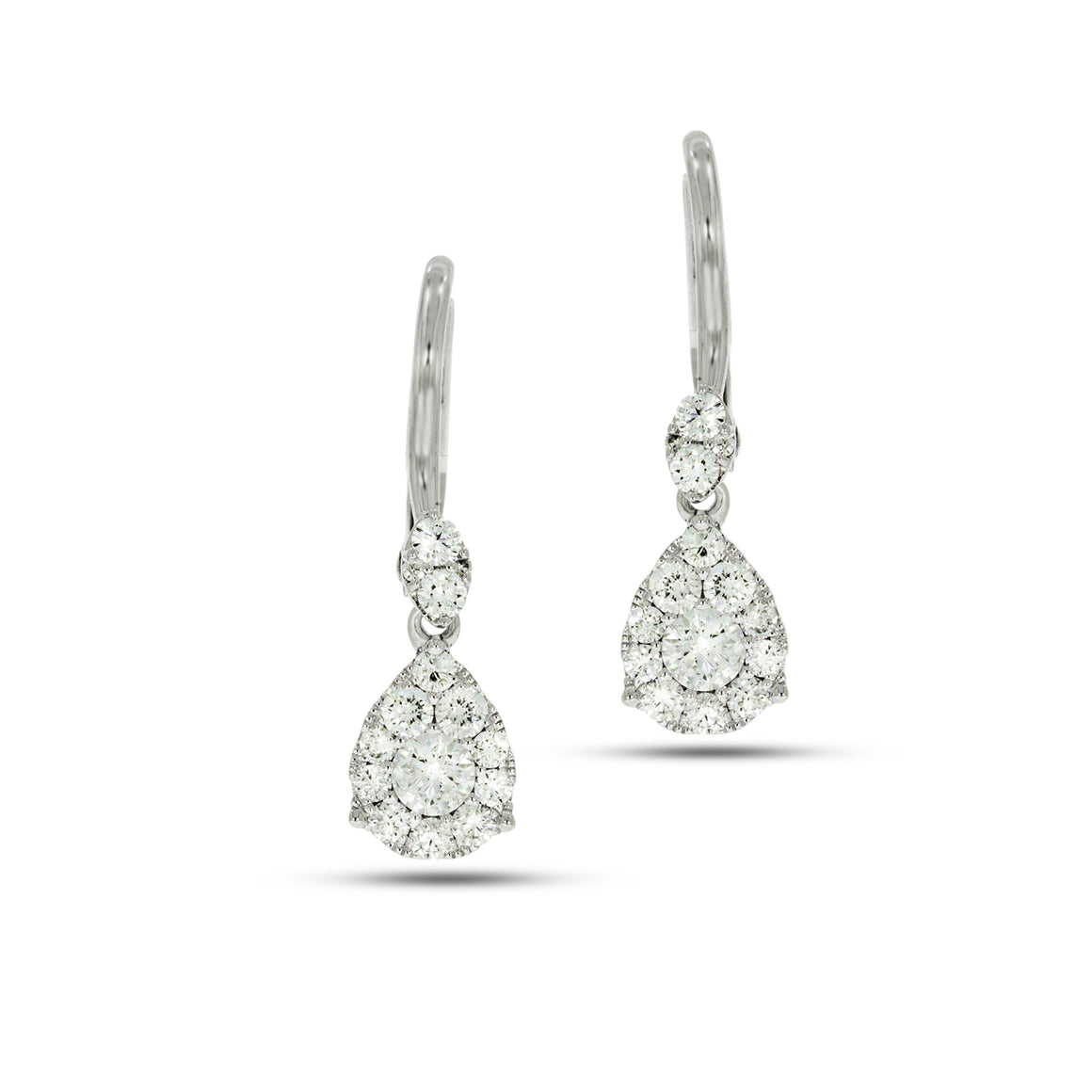 Drop Earrings set with total of 0.73ct Round diamonds White gold, teardrop shaped.