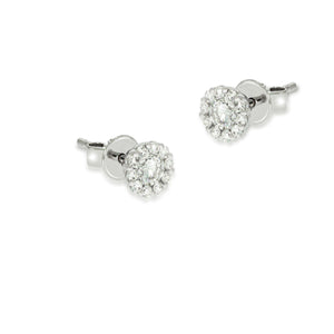 Tiny gentle pave diamond, flower shape earrings | stud earrings 0.62 ct. round Sparkling diamonds in 18K white gold. wedding erring's.