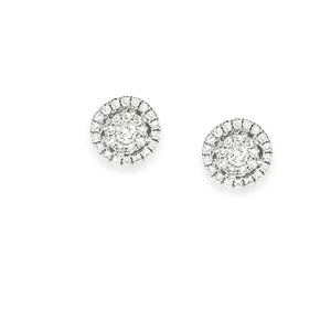 Tiny gentle pave diamond earrings, Diamond Halo Engagement earrings | stud earrings 0.41 ct. round diamonds in 18K gold.
