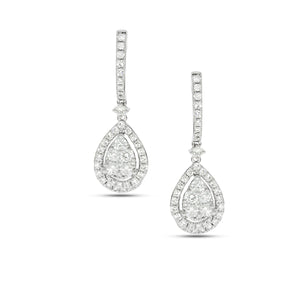 Drop Earrings set with total of 1.29 Round diamonds White gold, Teardrop shape.