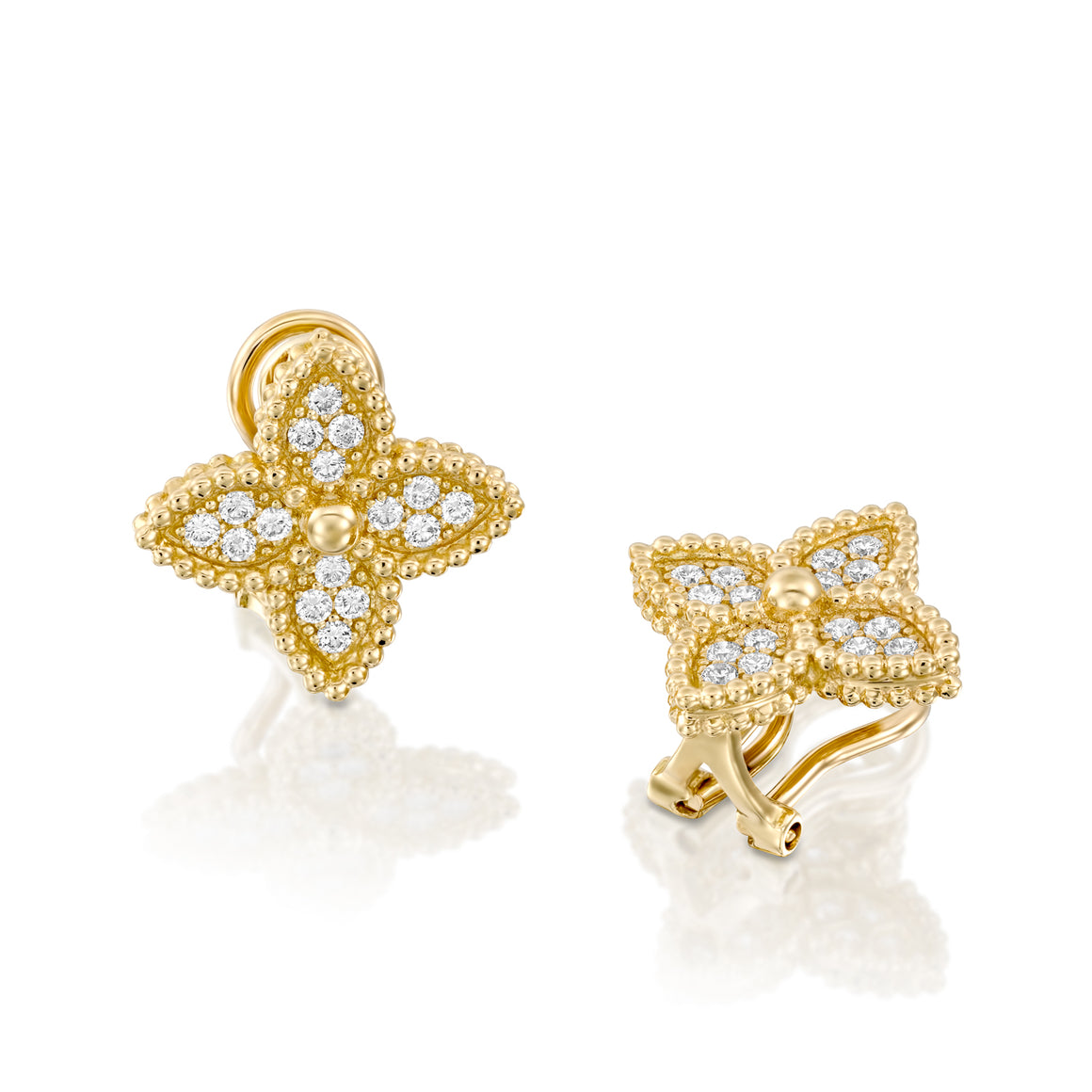 18k Flower clip on diamond earrings