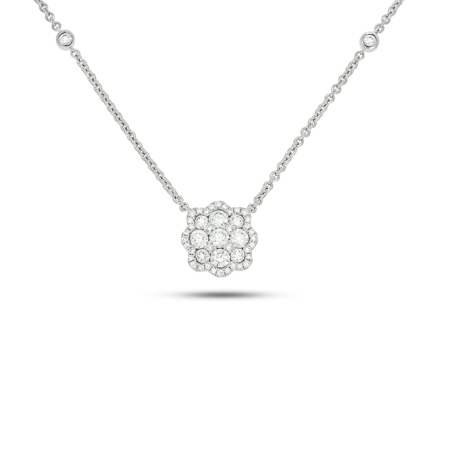 Unique Flower shape diamond pendant necklace  - Pave Diamond Pendant - 0.79 ct - 18k white Gold