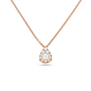 Teardrop Pendant shape diamonds necklace - Pave Diamond Pendant - 0.53 ct - 18k Rose Gold