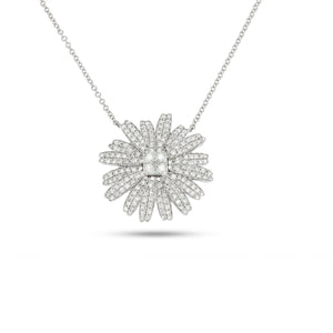 Big Stunning flower shape 1.64 ct. diamonds necklace, unique design.