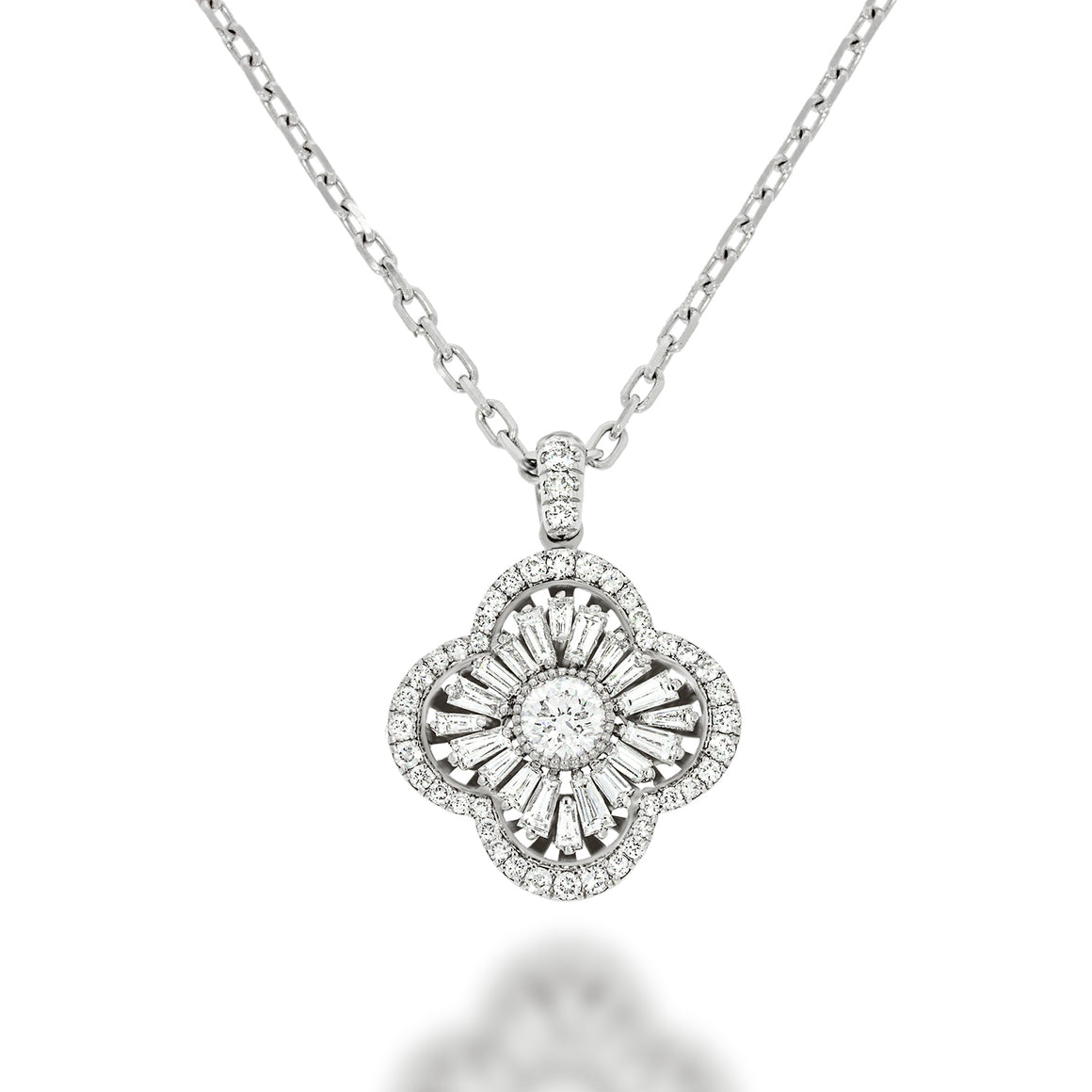 luxurious pendant Victorian Style. Clover shape pendant with a central big diamond and 64  luxurious and special diamonds. prefect  gift.