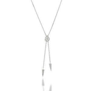 Pear shape Pave diamond pendant necklace, 2 arrows set with diamonds make the necklace long and special. 18K white gold with 0.27ct diamonds