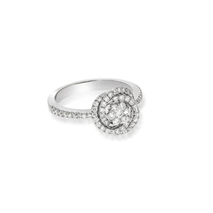 Halo flower Shape ring with spiral diamonds around it 0.65ct, 67 round natural sparkling diamonds, very Unique design, Engagement set