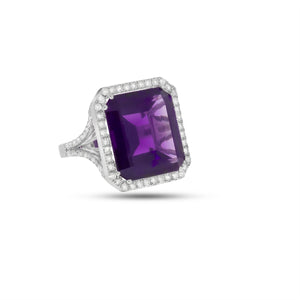 19.05 ct. Purple Amethyst Gemstone & 0.94 round brilliant cut Diamonds Ring in 18K white gold. Engagement Ring.