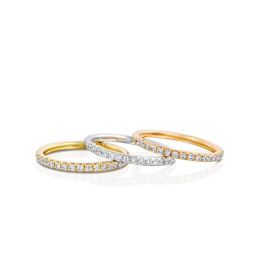 RNT11636-0.28 Carat women half eternity Wedding ring in 18k white red or yellow gold 1.7 MM
