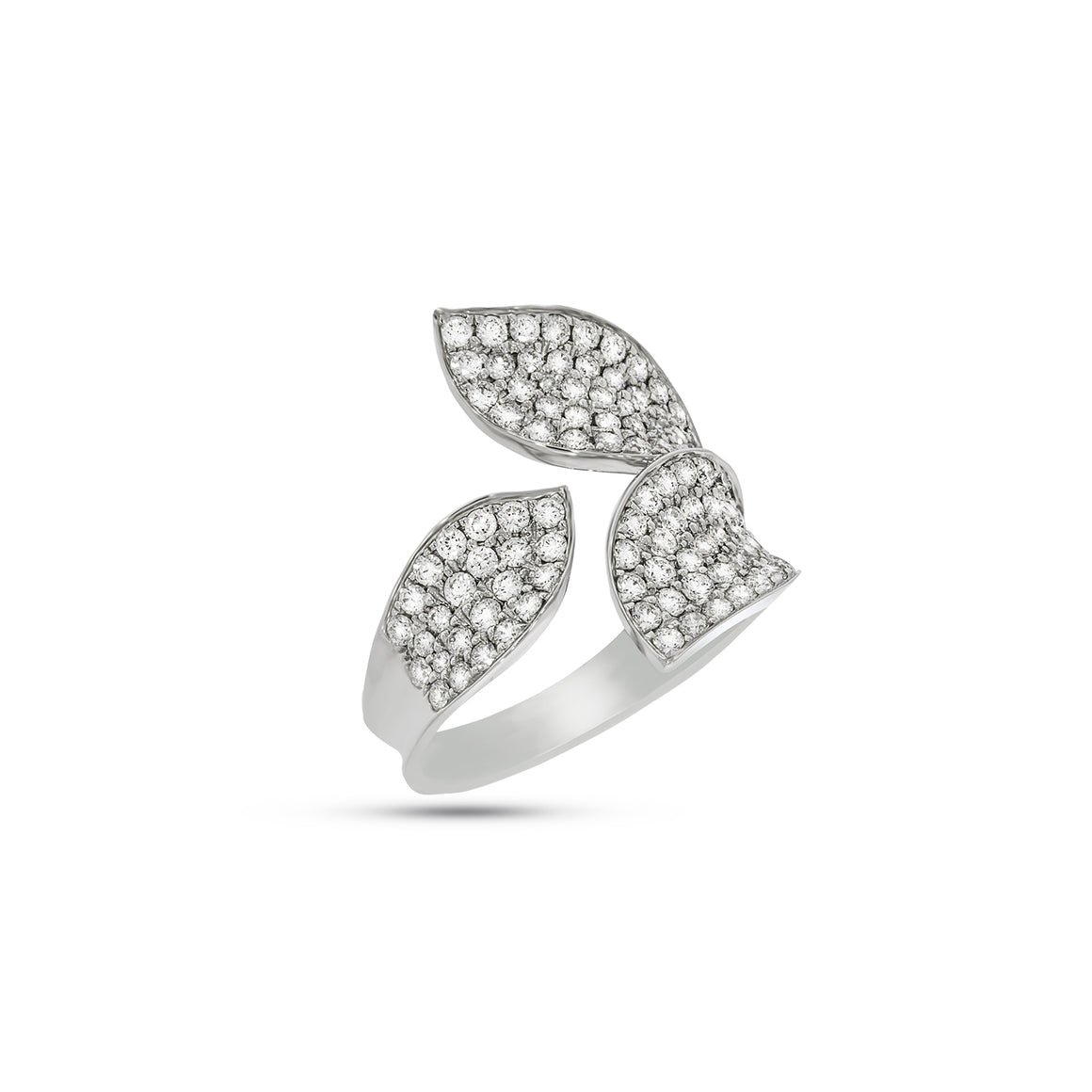 Leaf diamonds Ring, marvelously set with 1.38 ct. 109 round diamonds in 18K white gold. Engagement Rings / wedding ring.