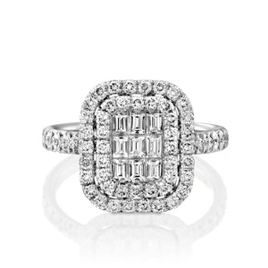 Radiant diamond Engagement Ring 18k White Gold Halo ring