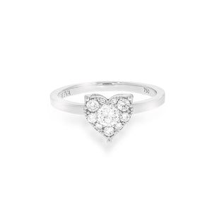 Engagement ring, Pave Diamond Heart shape ring, 1 round brilliant diamonds and 7 more round diamond set in a heart 18K white gold.