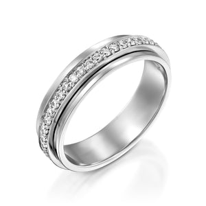RTUB1339-White gold diamond spinner ring for women