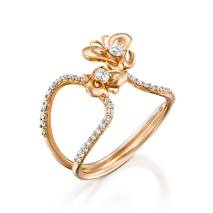 ROF100-Diamond butterfly engagement ring