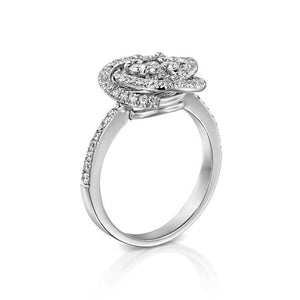 Spiral diamond engagement ring front view