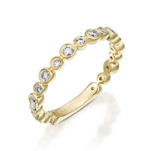 R3859-Eternity Bubble diamond ring bezel ring - 18k Yellow gold