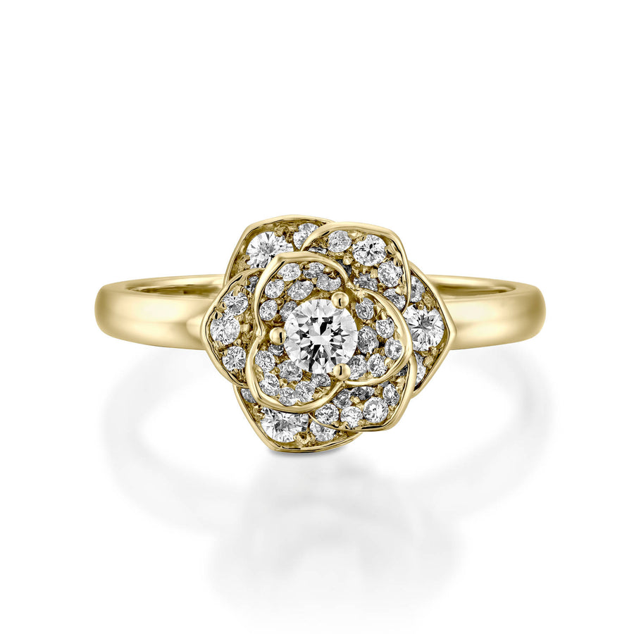 18k Petals Flower diamond engagement ring