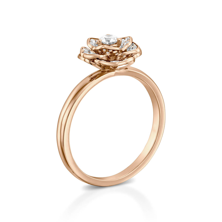 Flower diamond engagement ring - Rose gold