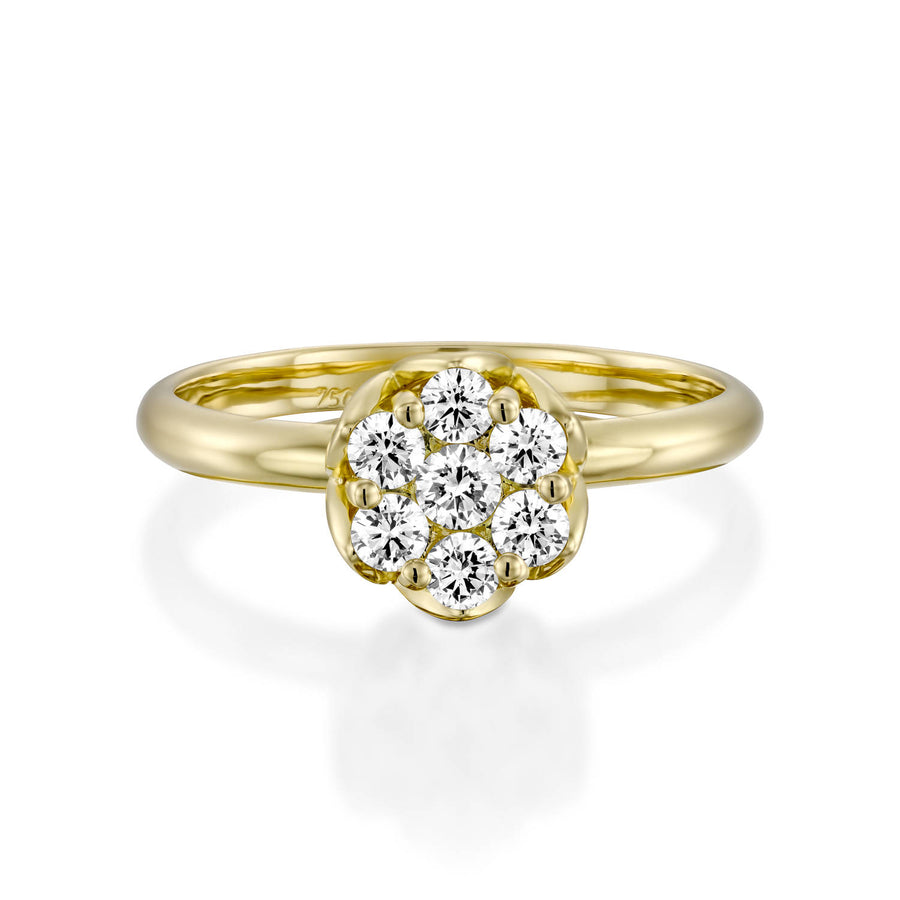 Yellow gold ring with flower diamonds