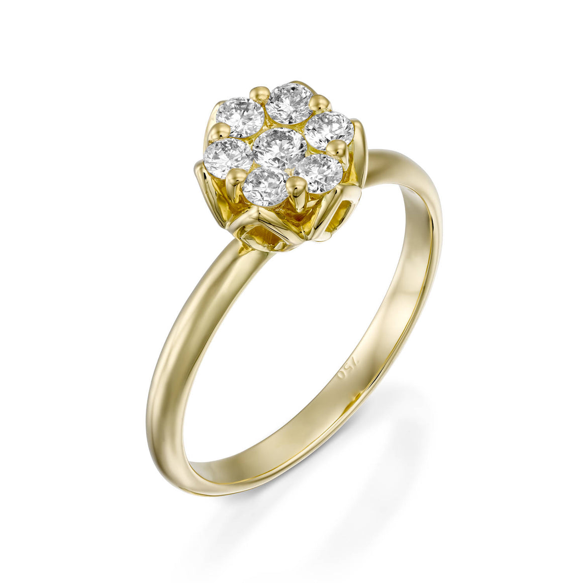 RS744AB-Yellow gold ring with flower diamonds