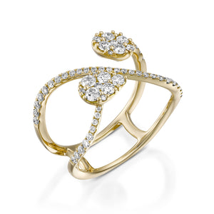 Unique women engagement ring Double diamond ring