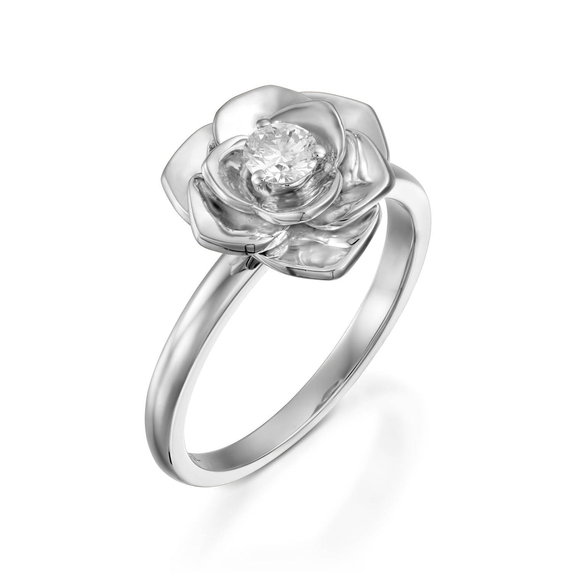 0.18 Ct rose diamond floral engagement ring