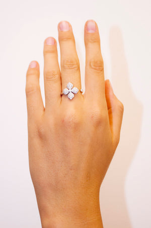 White gold Flower Diamond Nature Inspired engagement rings for women