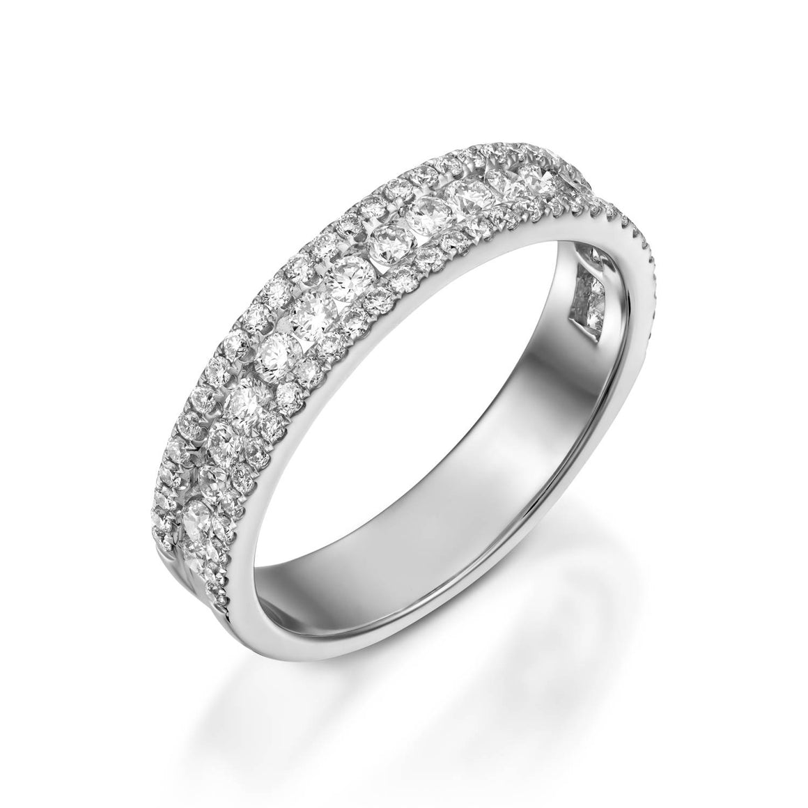 0.72 Carat White gold diamond Half Eternity Wedding ring