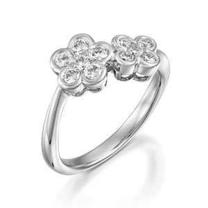 RNH668WC-18k White gold double diamond flower ring