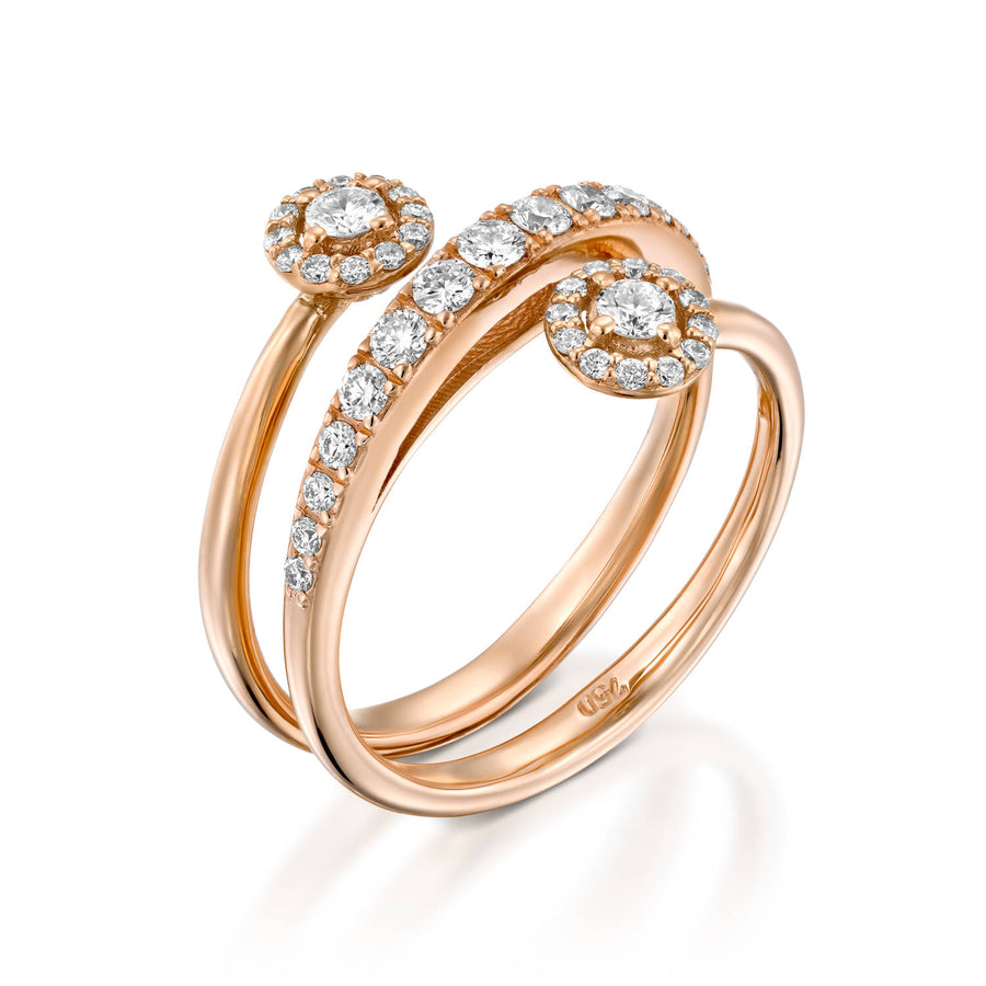 18K Rose Gold diamond Spiral infinity Ring
