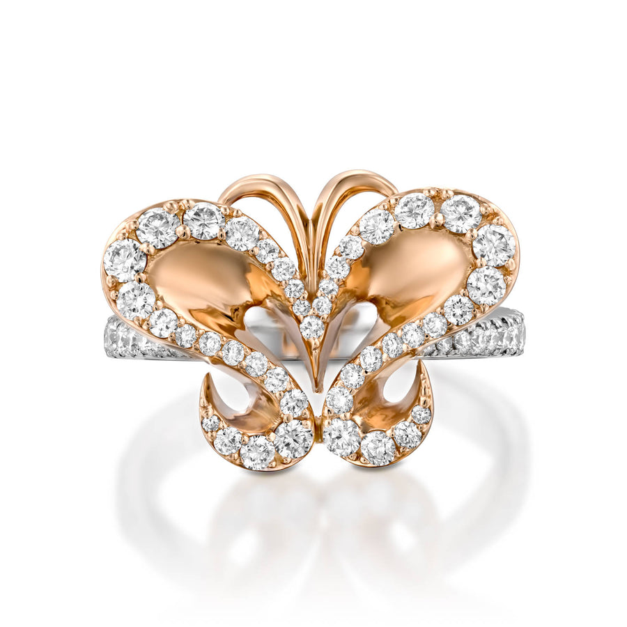 ROF101-Nature inspired butterfly diamond ring for women