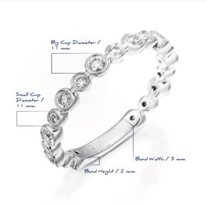 White gold Eternity Bubble diamond ring bezel ring