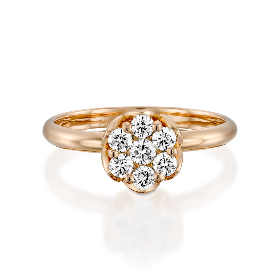 Dainty flower diamond ring Rose gold