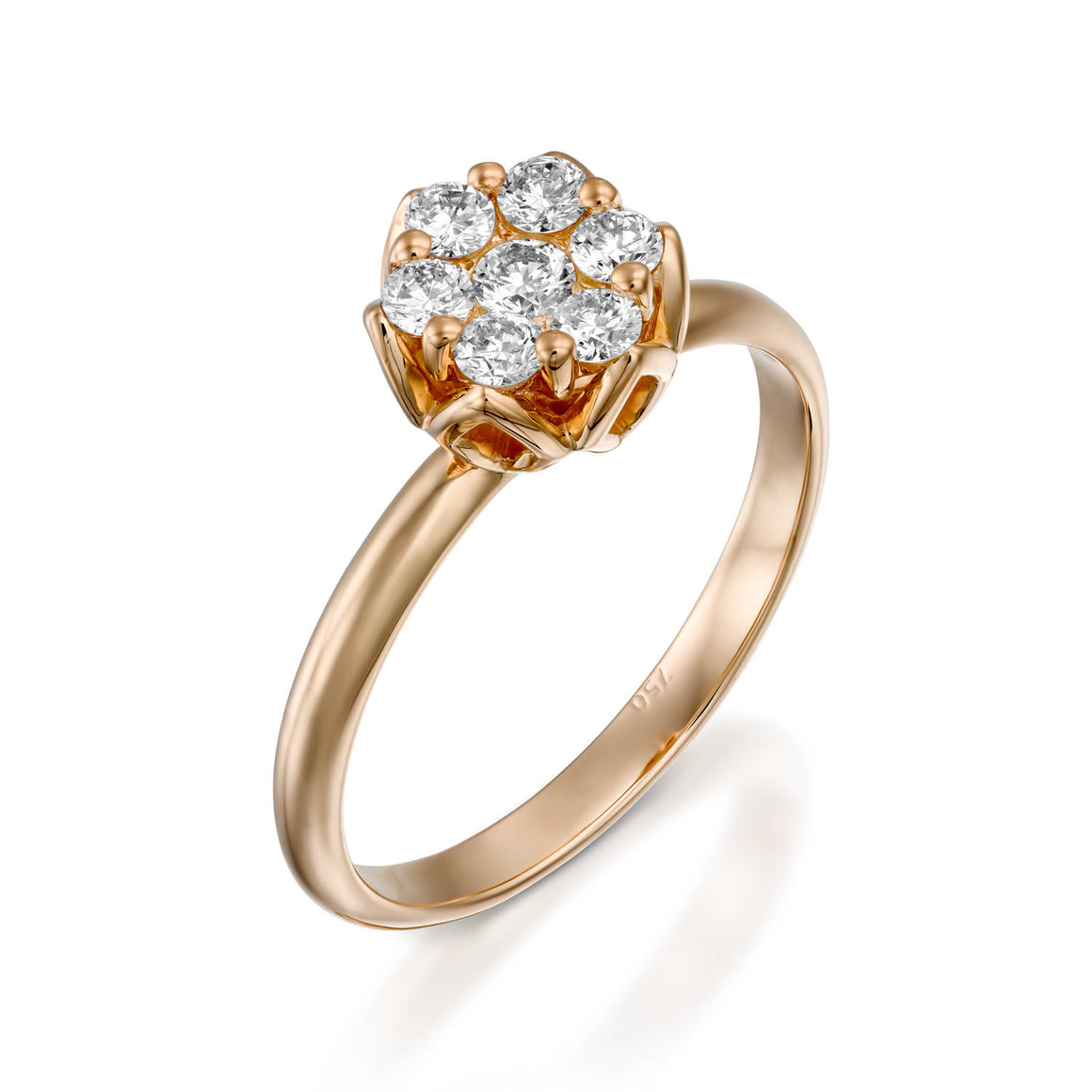 RS744AB-Dainty flower diamond ring Rose gold