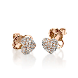 0.61 Carat Natural Pave Diamond Heart Stud Earrings 18k rose gold