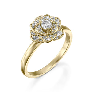 ROF103-18k Petals Flower diamond engagement ring