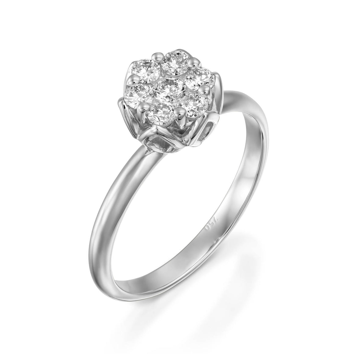 White Gold flower diamonds  engagement ring for women,