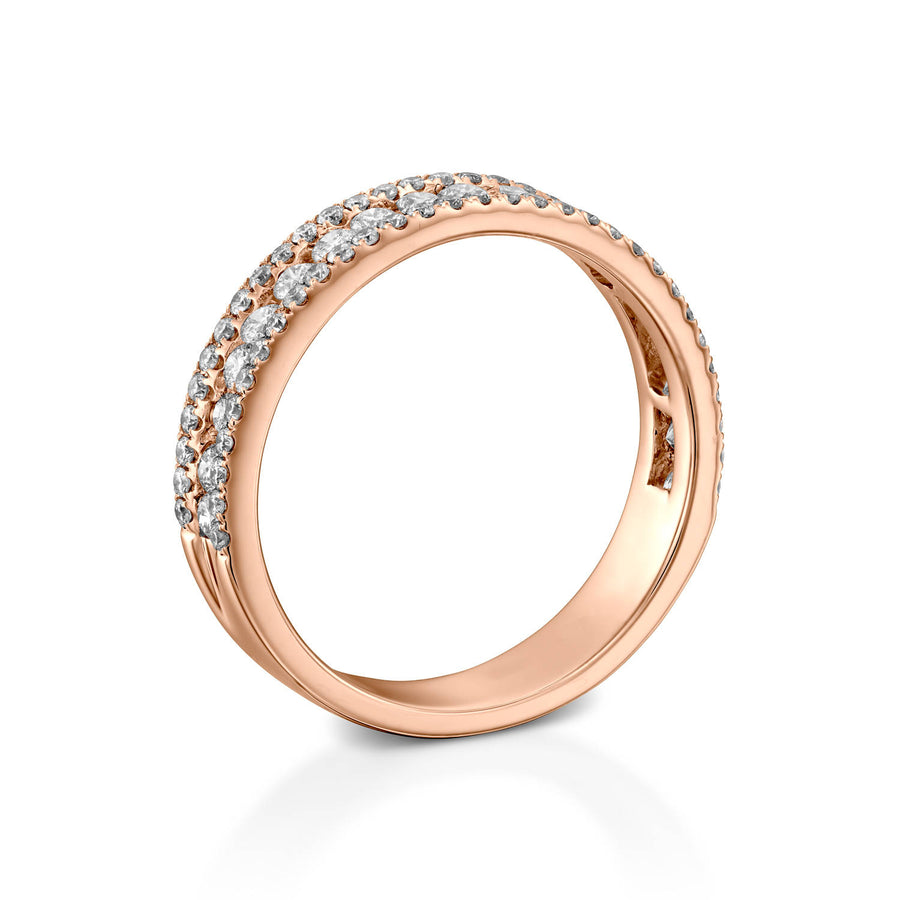 RNT12696-Rose gold diamond wedding band for her